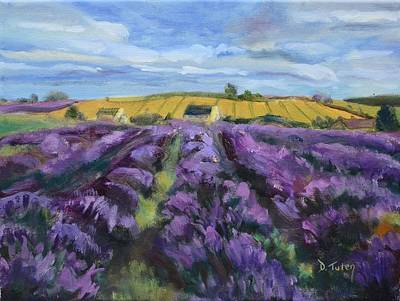 Donna Summer Painting - Cotswold Lavender Fields by Donna Tuten