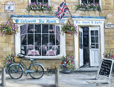 Hanging Basket Painting - Cotswold Tea Room by Marilyn Dunlap