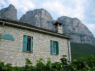 Photograph - Cottage And Mountains by Alexandros Daskalakis
