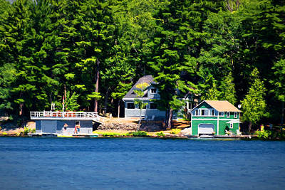Photograph - Cottage And Two Boathouses by Les Palenik