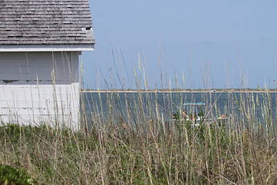 Cottage At Cape Lookout And Boat Art Print