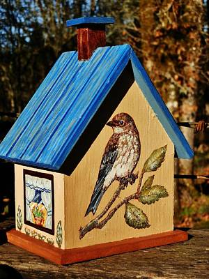 Painting - Cottage Birdhouse-back by VLee Watson