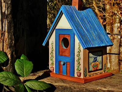 Painting - Cottage Birdhouse by VLee Watson