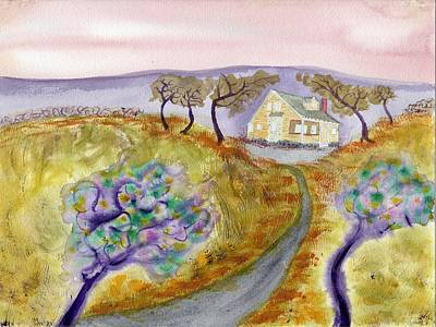 Cottage By The Purple Trees Art Print