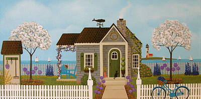Folk Art Painting - Cottage By The Sea by Mary Charles