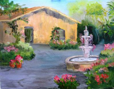 Cottage Courtyard Art Print