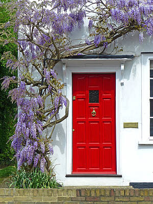 Country Cottage Photograph - Cottage Door With Wisteria by Gill Billington