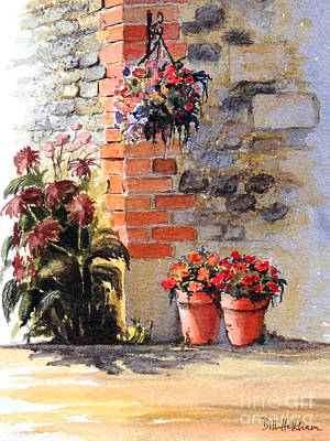 Hanging Baskets Painting - Cottage Garden  by Bill Holkham