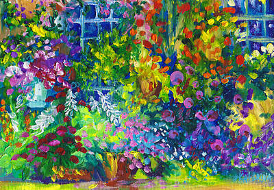Painting - Cottage Garden Flowers by Ekaterina Chernova