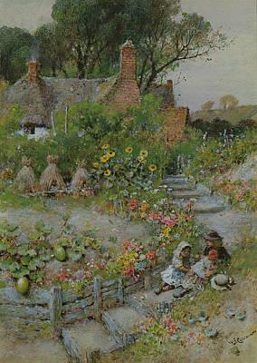 Ground Painting - Cottage Garden In Summer by William Stephen Coleman