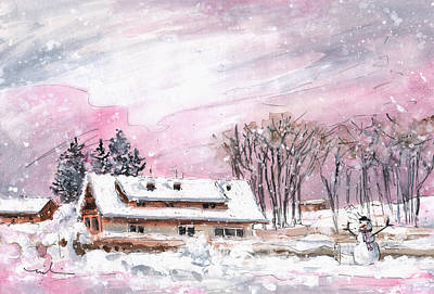 Trees In Snow Drawing - Cottage For Girls In The Black Forest In Germany by Miki De Goodaboom