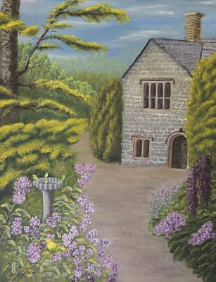 Cottage In The Woods Art Print by Lou Magoncia
