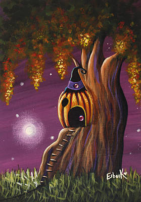 Cottage In The Woods Original Pumpkin Artwork Print by Shawna Erback