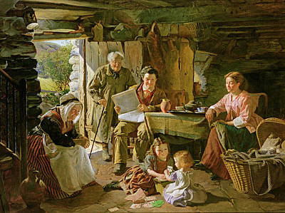 Cribs Photograph - Cottage Interior, 1868 Oil On Canvas by William Henry Midwood