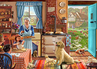 Puppies Digital Art - Cottage Interior by Steve Crisp