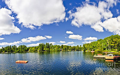 Photograph - Cottage Lake With Diving Platform And Dock by Elena Elisseeva