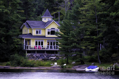 Photograph - Cottage On A River - Painterly by Les Palenik