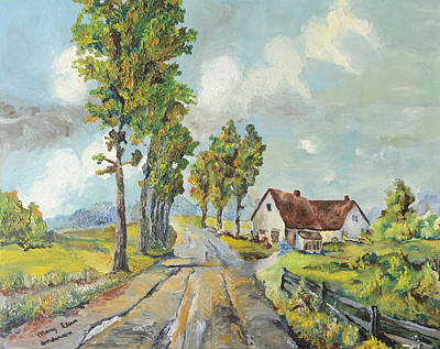 Art Print featuring the painting Cottage On Poplar Lane by Mary Ellen Anderson