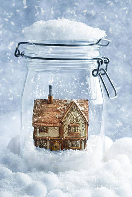 Cottage Snowglobe Art Print