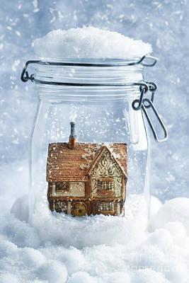 Cottage Snowglobe Art Print by Amanda Elwell