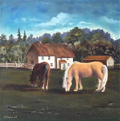Cottage With Shetland Ponies Art Print by Diane Daigle