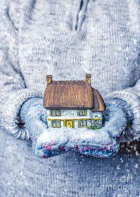 Cottage With Snowfall Art Print