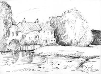 Country Schools Drawing - Cottages By The Mill by Maxine Cameron