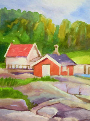 Painting - Cottages by Lutz Baar
