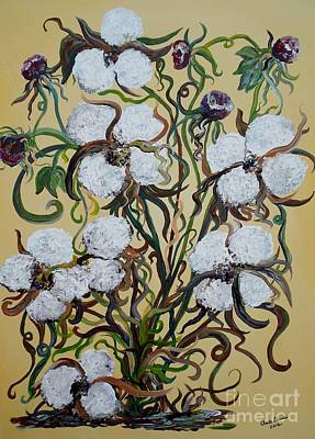 Rural Scene Painting - Cotton #2 - Cotton Bolls by Eloise Schneider