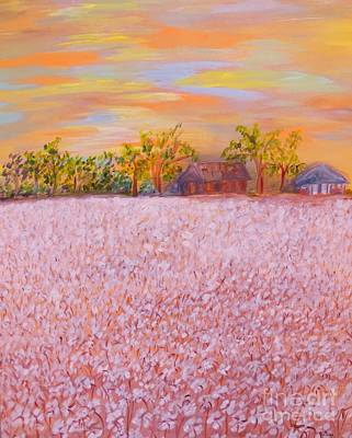 Texas Farm House Painting - Cotton At Sunset by Eloise Schneider