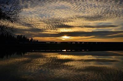 Cotton Ball Clouds Sunset Art Print