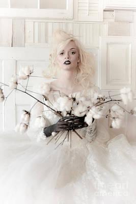 White Cotton Bouquet Art Print