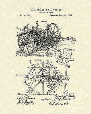 Farming Drawing - Cotton Chopper 1887 Patent Art by Prior Art Design
