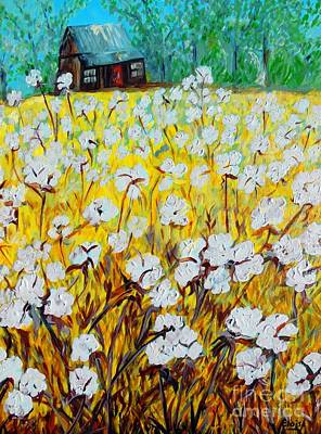 Bright Colours Painting - Cotton Fields Back Home by Eloise Schneider