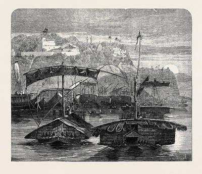 Cotton From India A Cotton Fleet Descending The Ganges Art Print by Indian School