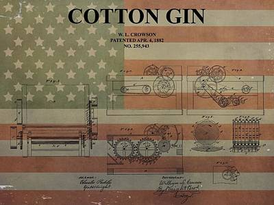 Fabric Mixed Media - Cotton Gin Patent Aged American Flag by Dan Sproul