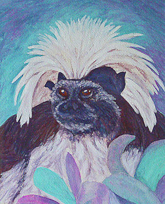 Painting - Cotton-top Tamarin by Margaret Saheed