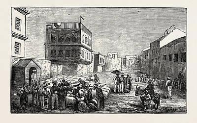 Cotton Yard, Minet El Basel, Alexandria, Drawing Samples Art Print by Egyptian School