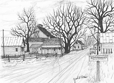 Drawing - Cottonwood Unincorporated by Jack G  Brauer