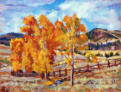 Cottonwood Painting - Cottonwoods In Fall by David Lloyd Glover