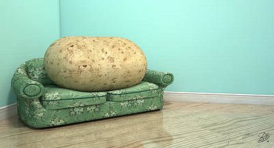 Lazy Digital Art - Couch Potato On Old Sofa by Allan Swart