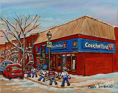 Verdun Winter Scenes Painting - Couche Tard Rue Wellington Verdun Street Scene Montreal Hockey Art Carole Spandau by Carole Spandau