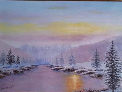 Soleil Couchant Painting - Coucher De Soleil Sur Le Lac by Jessica Fleurentin