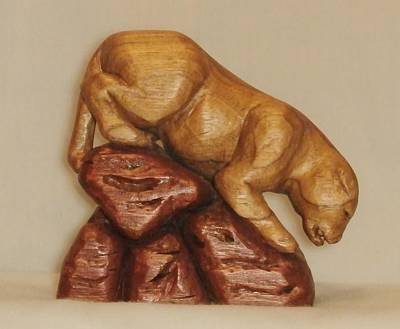 Cat Wood Carving Sculpture - Cougar Descending by Russell Ellingsworth