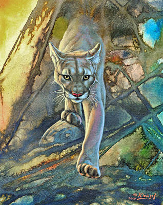 Cougar Painting - 'cougar In Abstract' by Paul Krapf