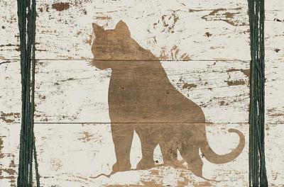 Reclaimed Wood Wall Art - Painting - Cougar In Reverse by Ramona Murdock