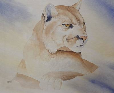 Cougar On Watch Art Print