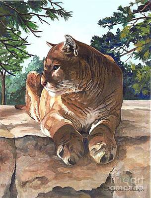 Cougar Outlook Art Print by Suzanne Schaefer