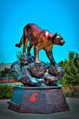 Cougar Pride Sculpture - Washington State University Art Print by David Patterson