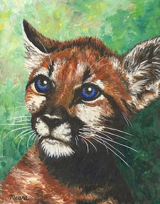 Baby Painting - Cougar Prince by Linda Mears